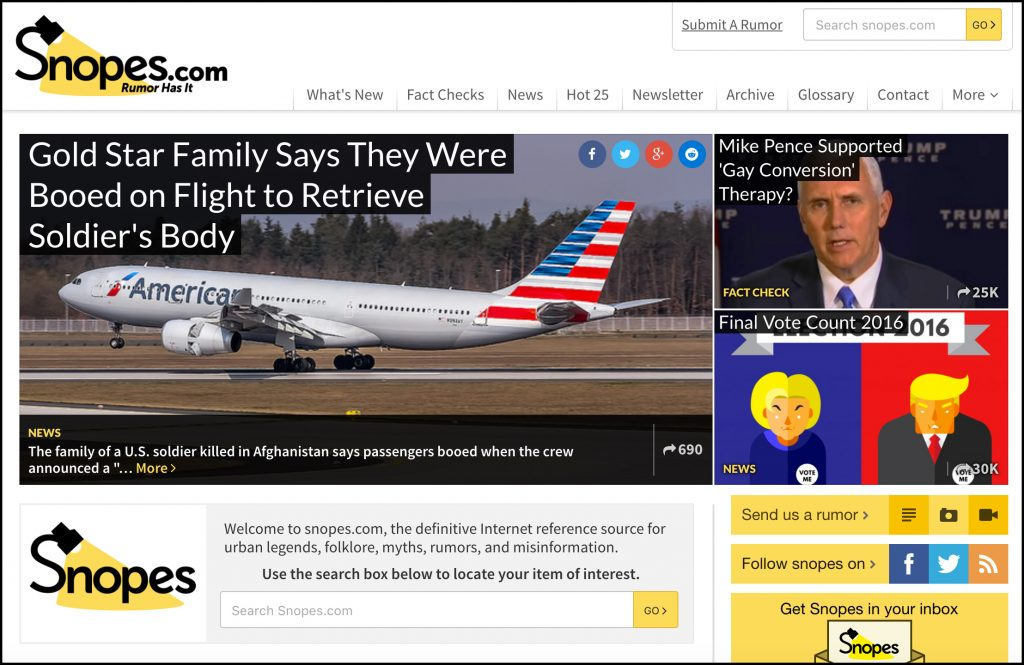 A screenshot of the Snopes.com homepage on November 21, 2016.