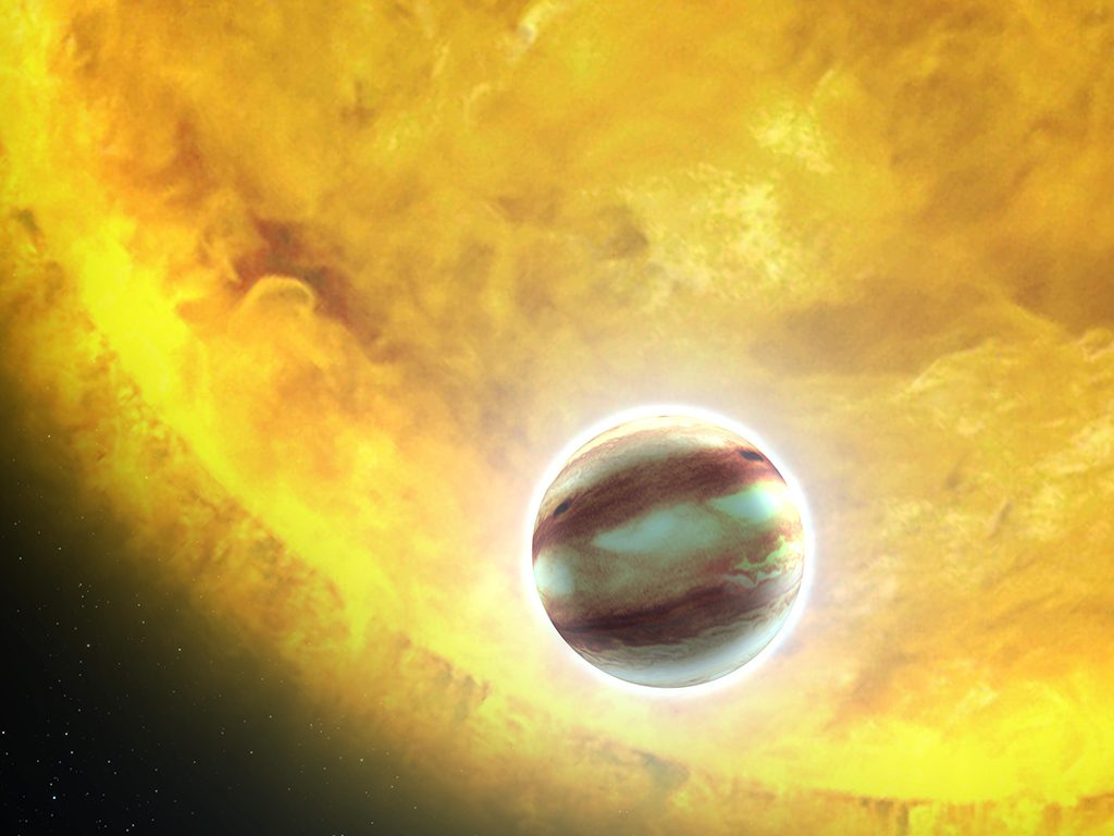 HAT-P-7b was the Hubble Telescope's 1 millionth observation on July 4, 2011, during a search for water in the atmosphere of an exoplanet located 1,000 light-years away. Its star burns much hotter than our sun. Illustration by NASA, ESA, and G. Bacon