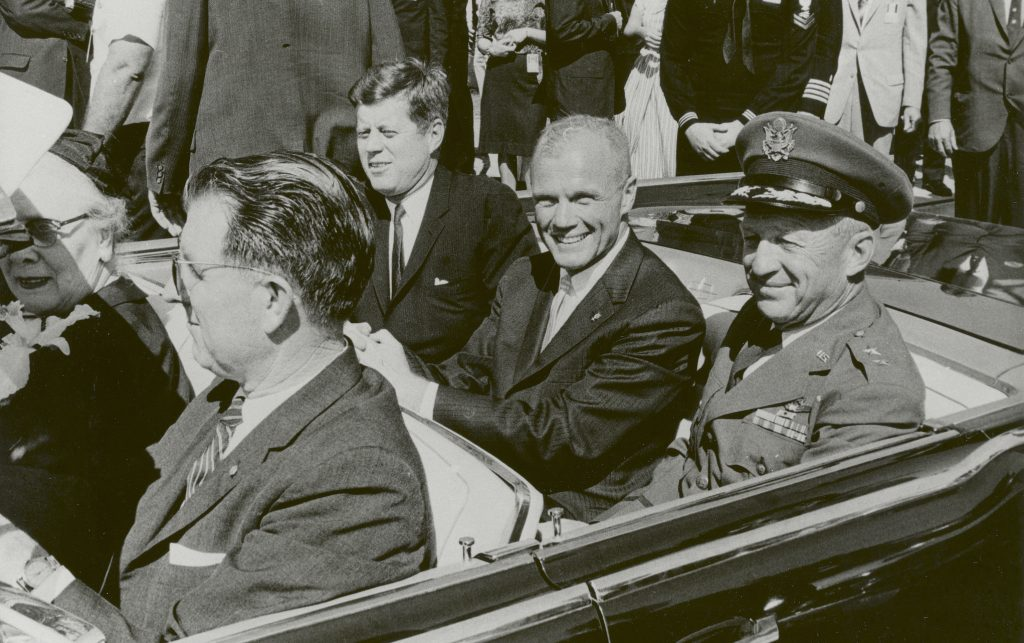 President John F. Kennedy (left), John Glenn and General Leighton I. Davis ride together during a parade in Cocoa Beach, Florida after Glenn's historic first U.S. human orbital spacefight. Photo courtesy NASA.