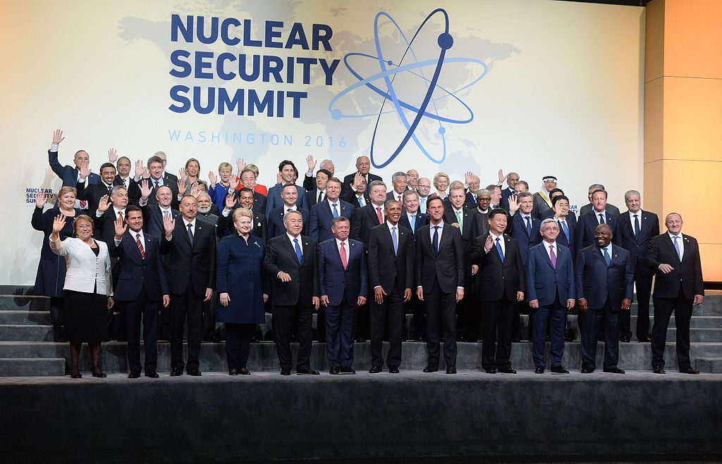 World leaders at the fourth Nuclear Security Summit in Washington, D.C., April 1, 2016. Photo by Government of Chile/via Wikimedia