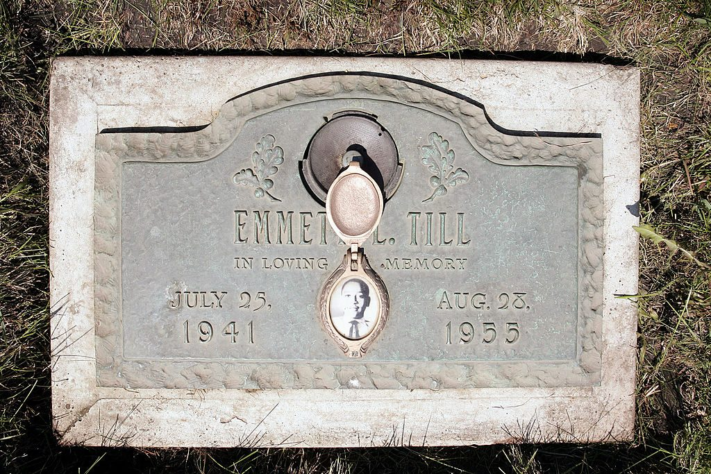 A plaque marks the gravesite of Emmett Till at Burr Oak Cemetery in Aslip, Illinois. Photo taken in 2005. Photo by Scott Olson/Getty Images