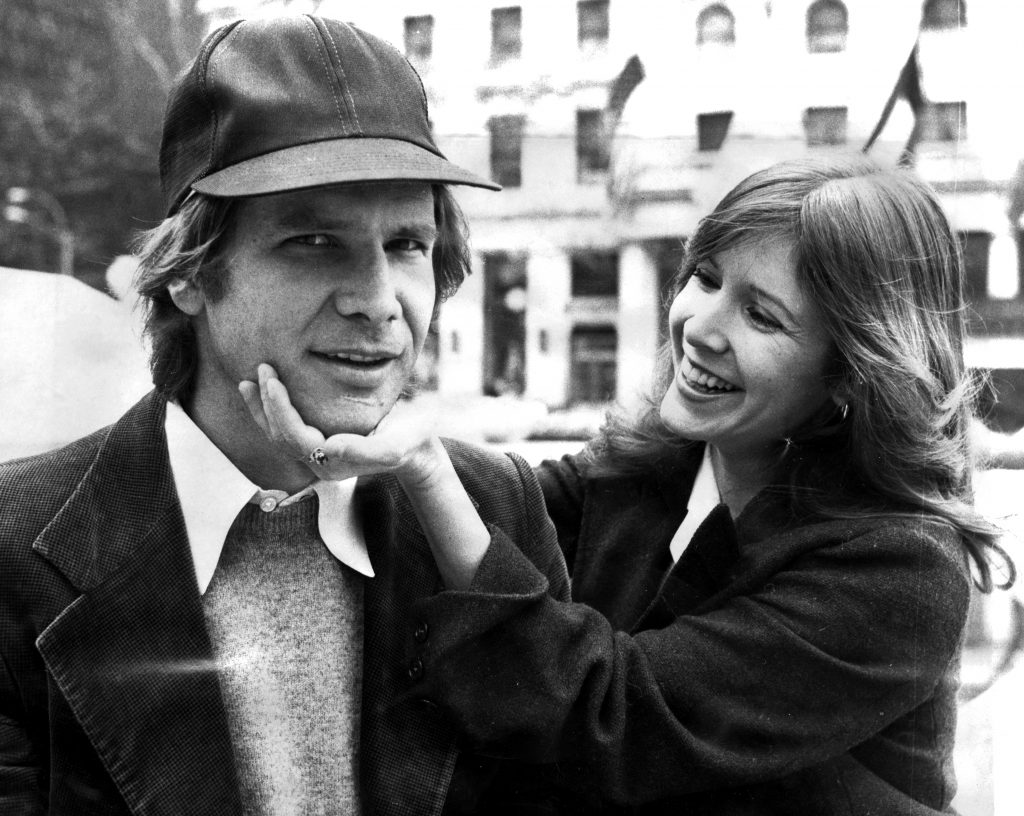 "Harrison Ford and Carrie Fisher on Fifth Ave outside The Plaza hotel in 2002. They were in town for the movie ""Star Wars.""  Photo by Richard Corkery/NY Daily News Archive via Getty Images"