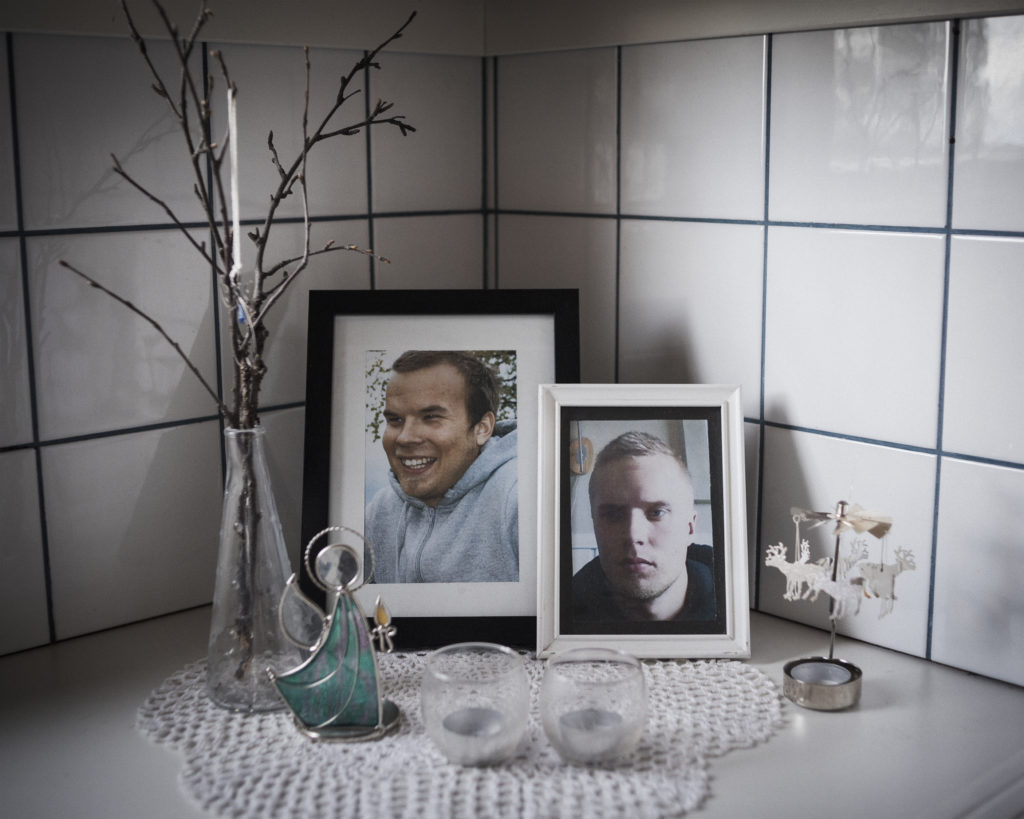 The corner in the kitchen is home to a memorial for Gustu and Heaika Marainen, who both took their own lives in 2014. Photo by Camilla Andersen