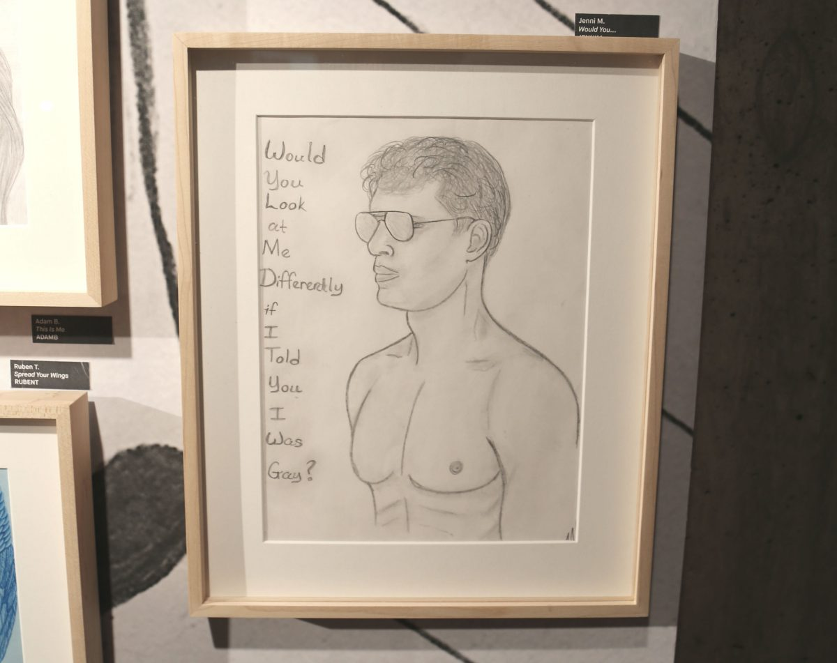 "A drawing by Jennifer Mayo appears at ""On the Inside"" at the Abrons Art Gallery in New York City. Photo by Corinne Segal"