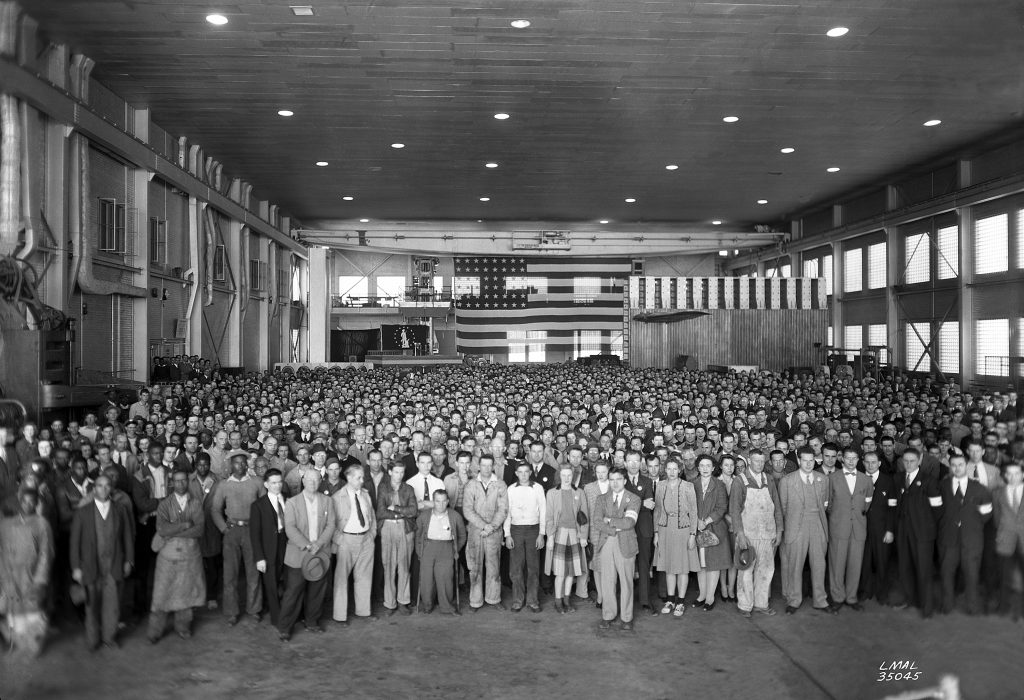 1,500 employees or so at NACA's Langley Memorial Aeronautical Laboratory on November 4, 1943. Photo by NASA