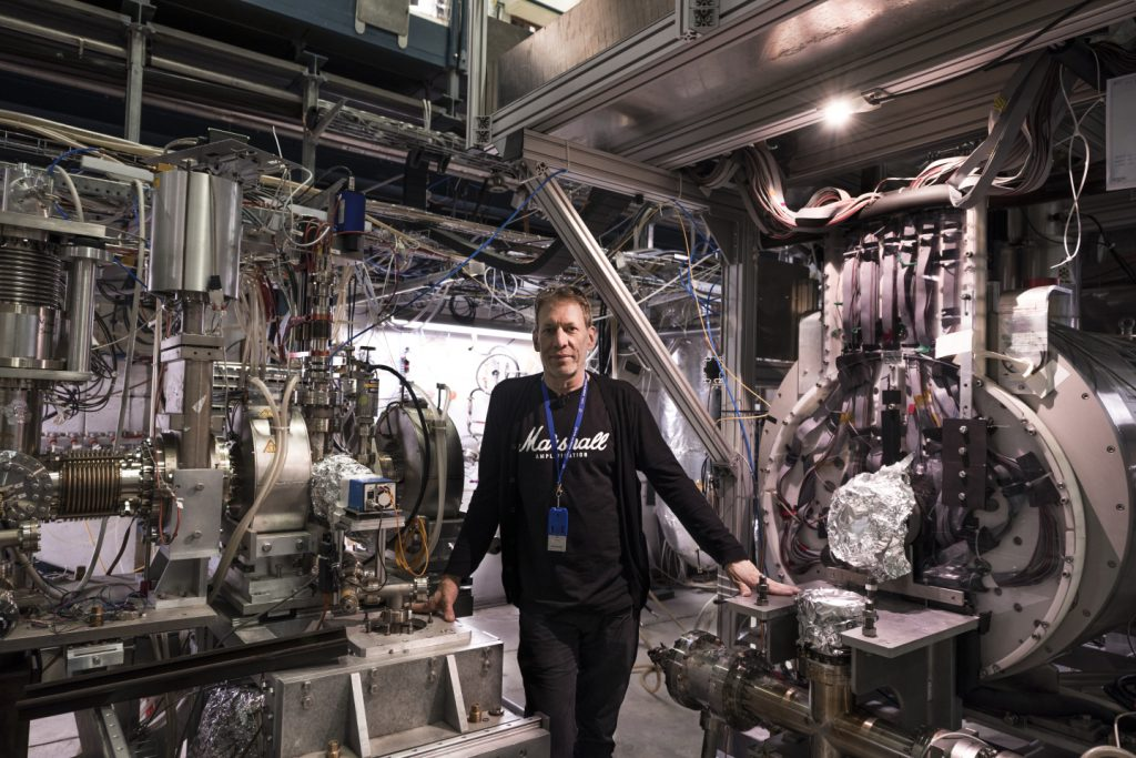 "Jeffrey Hangst, physicist and spokesperson of the ALPHA collaboration, said ""Using a laser to observe a transition in antihydrogen and comparing it to hydrogen to see if they obey the same laws of physics has always been a key goal of antimatter research."" Photo by Maximilien Brice/CERN"