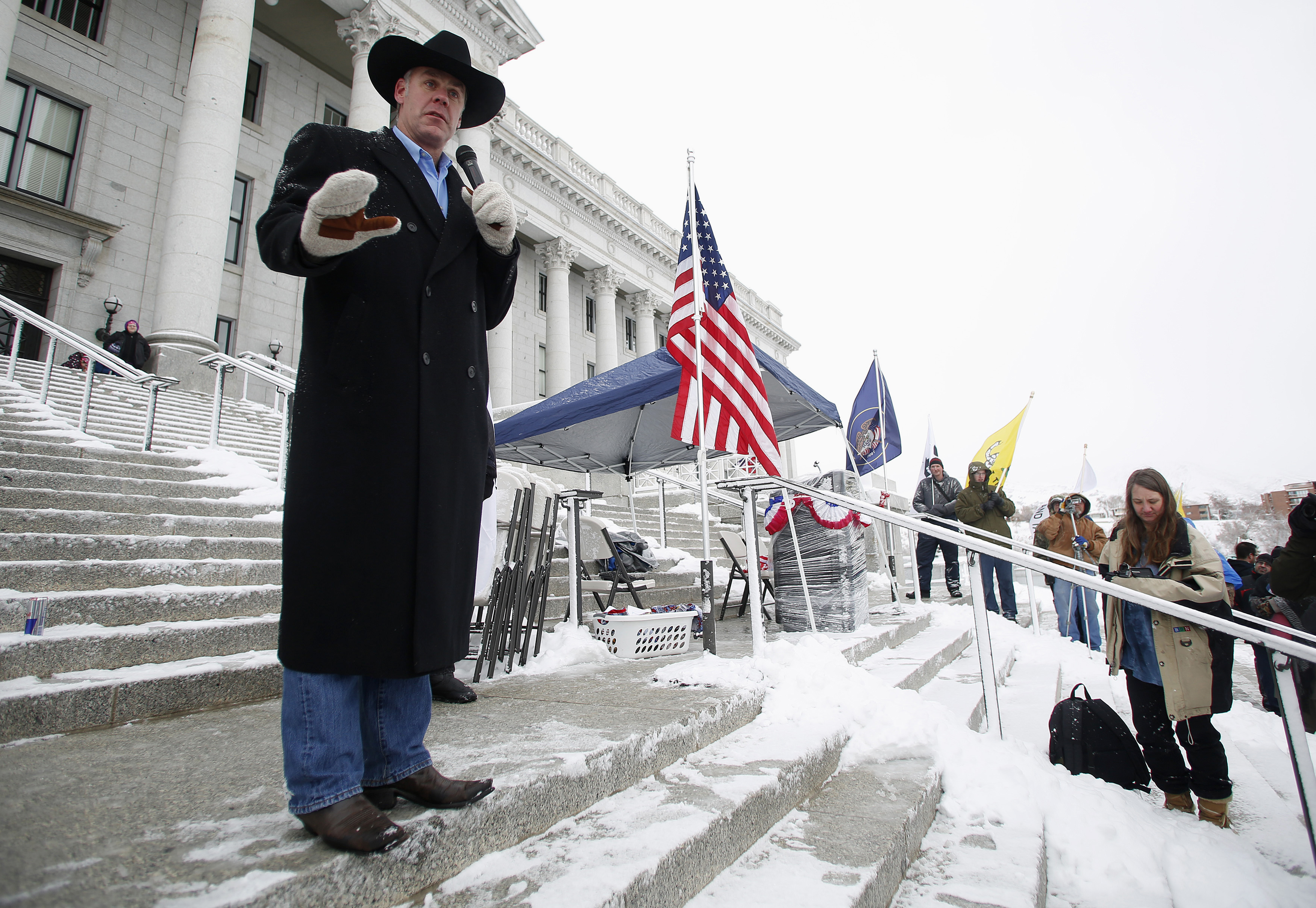 Montana state Senator Ryan Zinke addresses a pro-gun activist rally at the state Capitol in Salt Lake City, in 2013. Photo by Jim Urquhart/Reuters