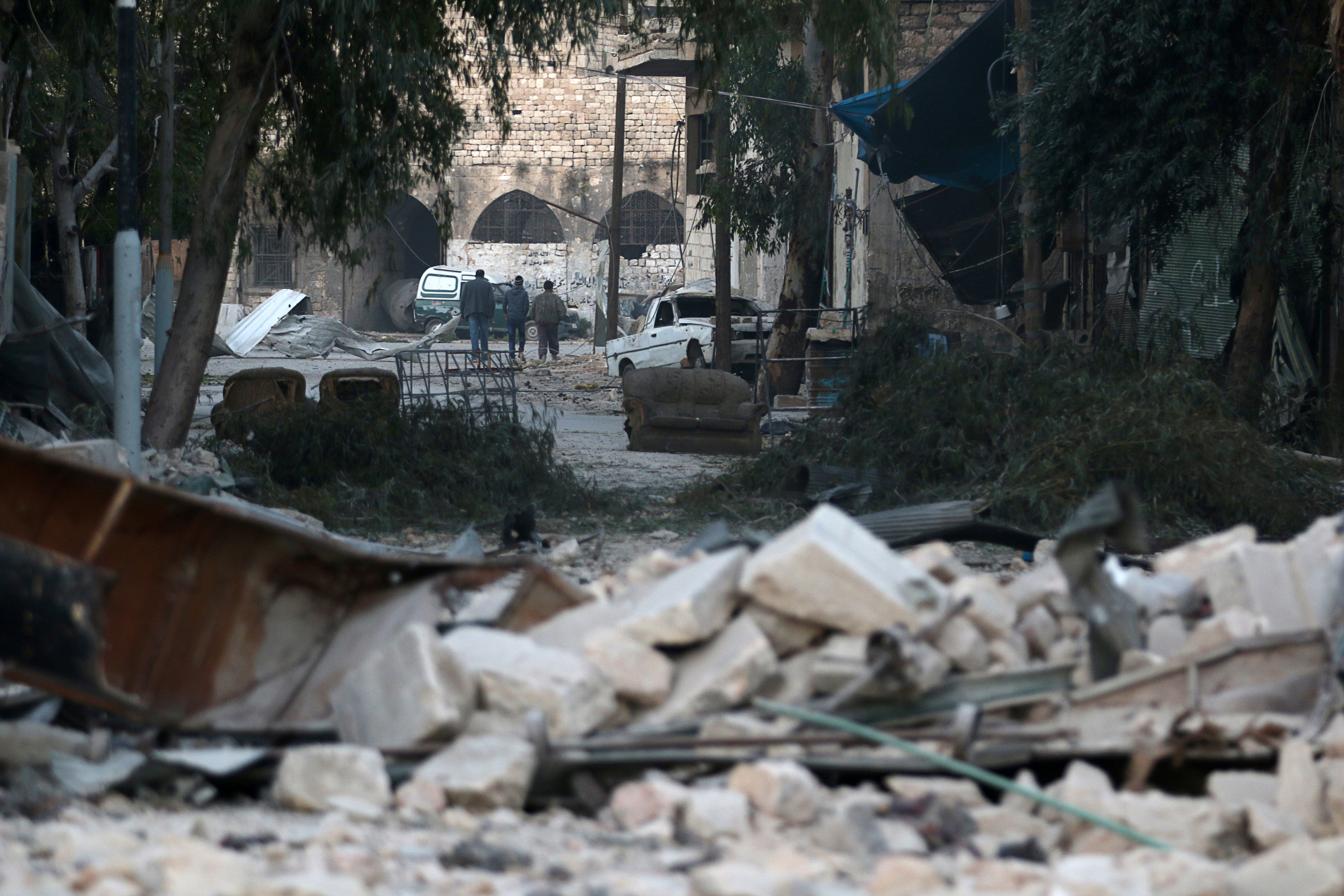 Photo of damaged site in Aleppo taken on Nov. 19. Photo by Abdalrhman Ismail/Reuters