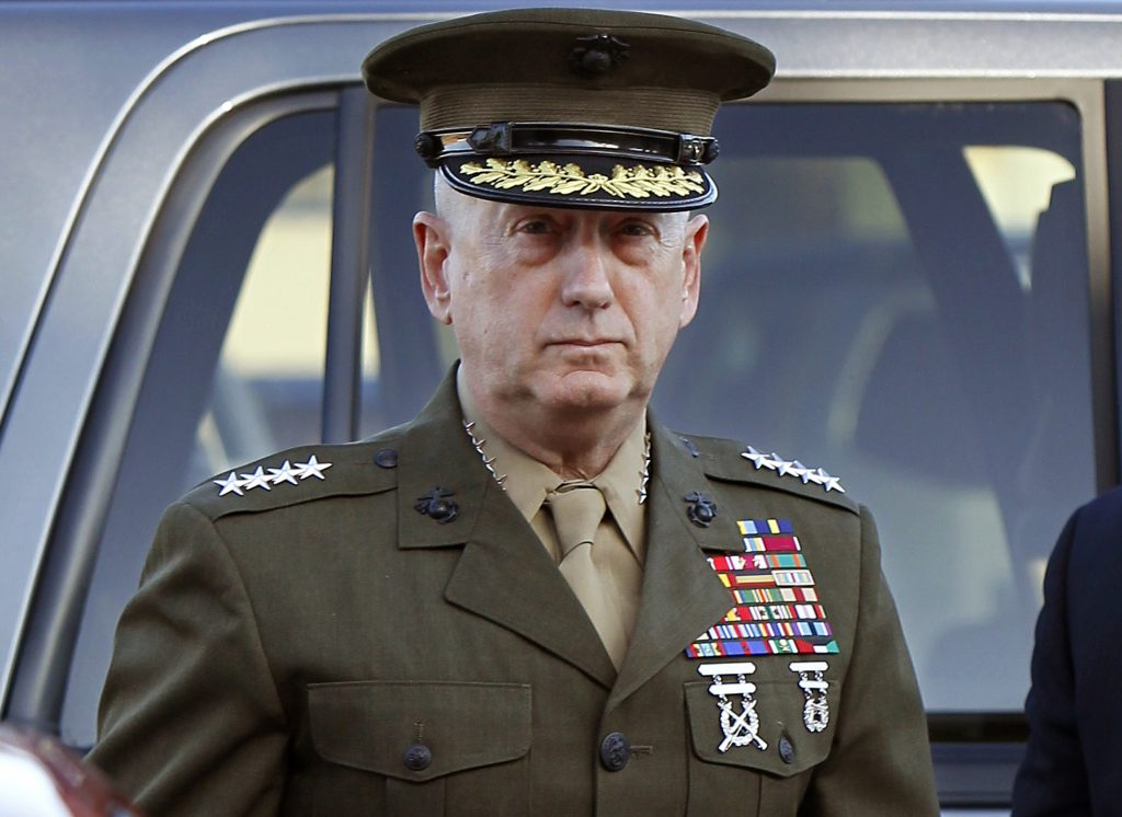 Marine Corps four-star general James Mattis arrives to address at the pre-trial hearing of Marine Corps Sgt. Frank D. Wuterich at Camp Pendleton, California, in 2010. Photo by Mike Blake/Reuters