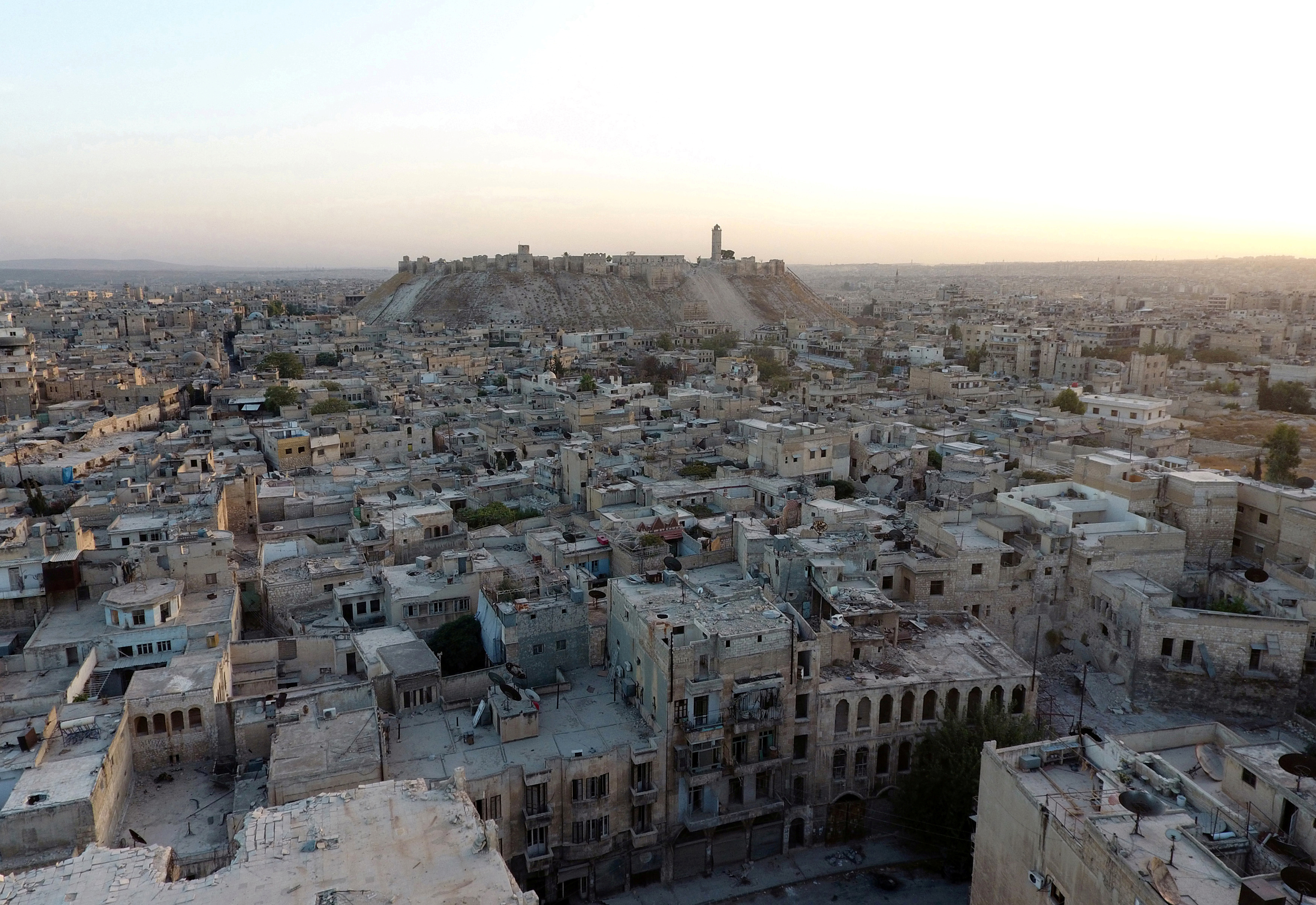 An image taken by a drone shows the Old City of Aleppo and the historic citadel on Oct. 12, 2016. Photo by Abdalrhman Ismail/Reuters