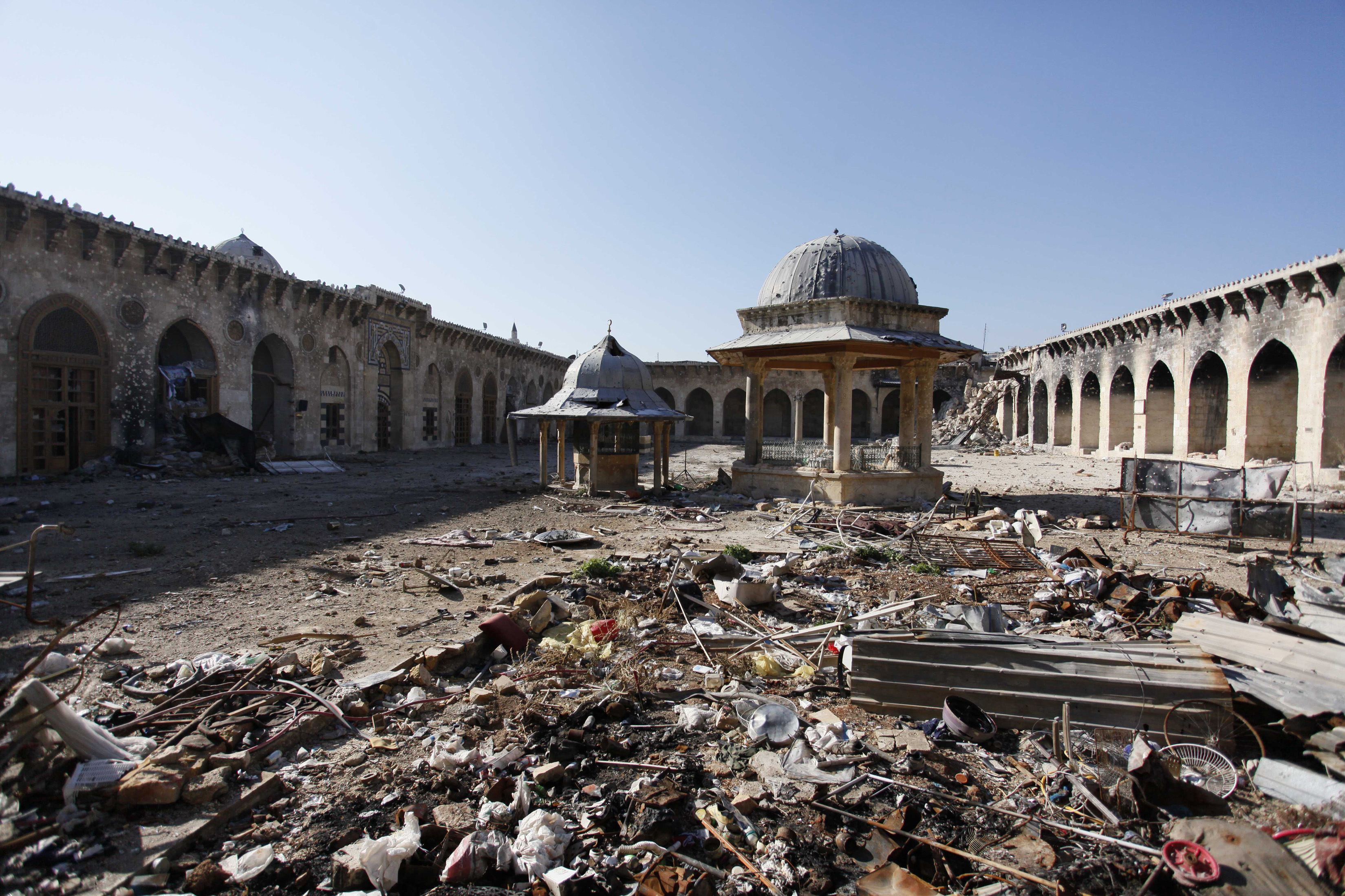 A general view of the damage in the Umayyad Mosque in Old Aleppo on Dec. 15, 2013. Photo by Molhem Barakat/Reuters