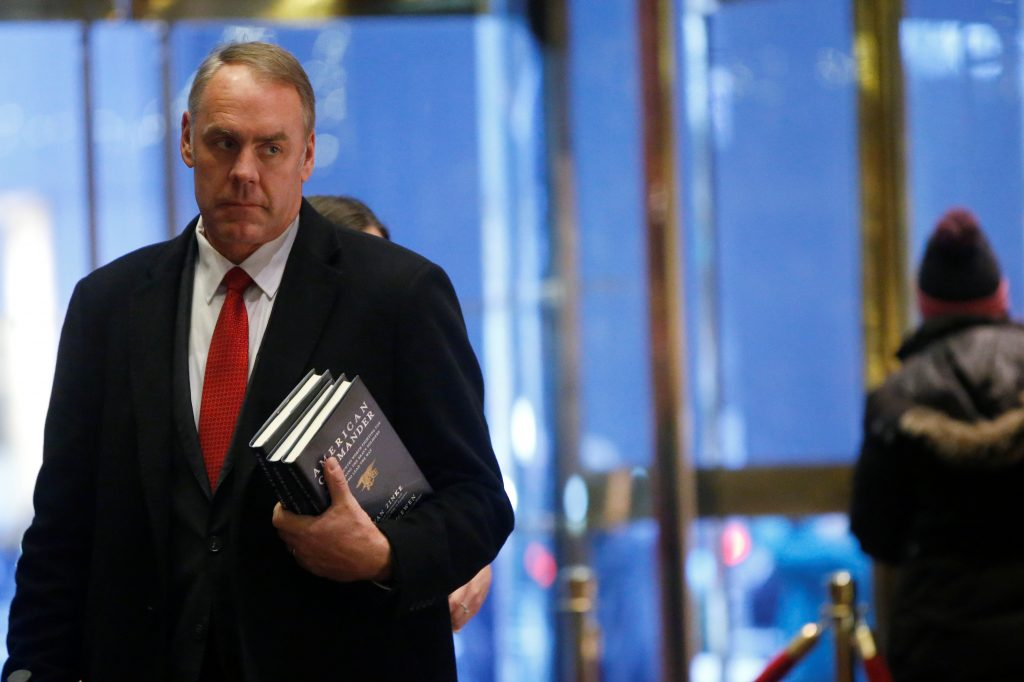 Rep. Ryan Zinke (R-MT) arrives for a meeting with President-elect Donald Trump at Trump Tower. Photo by Brendan McDermid/Reuters