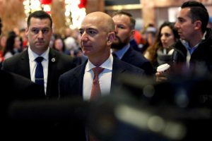 Jeff Bezos, founder, chairman, and chief executive officer of Amazon.com enters Trump Tower ahead of a meeting of technology leaders with President-elect Donald Trump in Manhattan, New York City. Photo by Andrew Kelly/Reuters