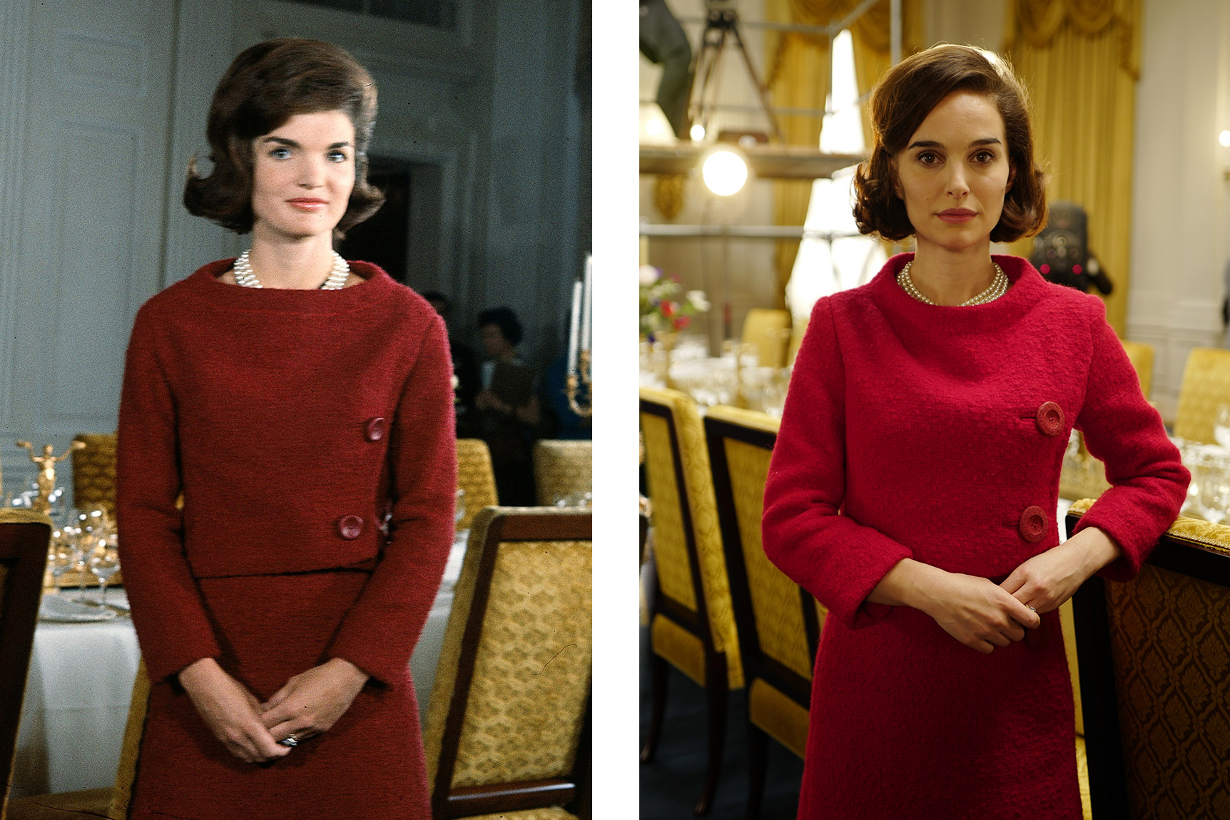 Left: American First Lady Jacqueline Kennedy (1929 - 1994), in a red dress, stands in before a dining room table in the White House during the filming of a CBS News Special program called 'A Tour of the White House with Mrs. John F. Kennedy,' Washington DC, January 15, 1962. (Photo by CBS Photo Archive/Getty Images) Right: Natalie Portman on the set of JACKIE. Photo by Pablo Larrain. © 2016 Twentieth Century Fox Film Corporation All Rights Reserved