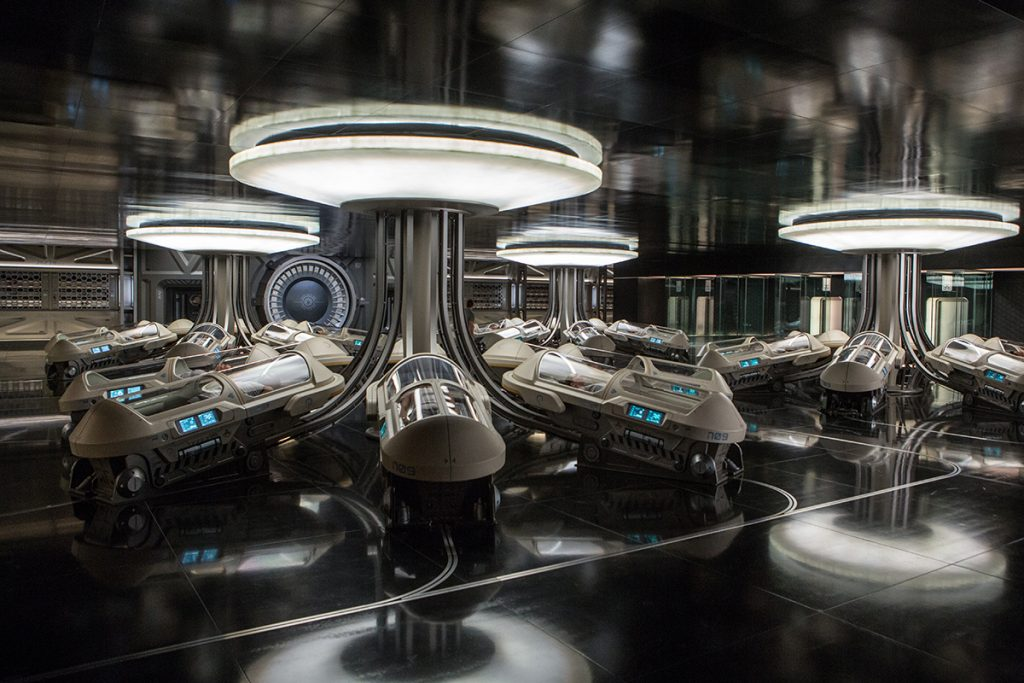A hibernation bay in Passengers. Photo by Columbia Pictures