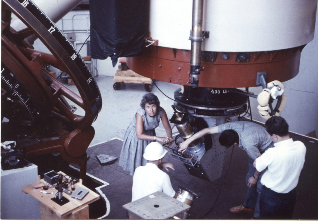 Astronomer Vera Rubin working with a telescope at Lowell Observatory in Flagstaff, Arizona, 1965. Photo courtesy of Carnegie Institution