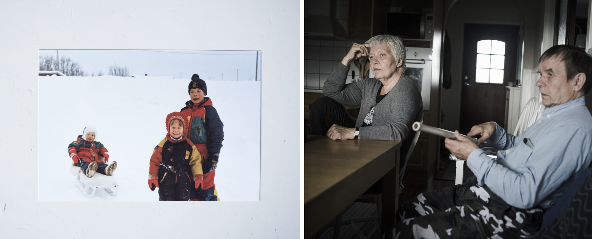 Left: A photo from the Marainen family album shows Heaika (left) and Gustu (right) playing in the snow as children. Right: Randi and Thomas Marainen sit in their kitchen in Nedre Soppero. Photos by Camilla Andersen