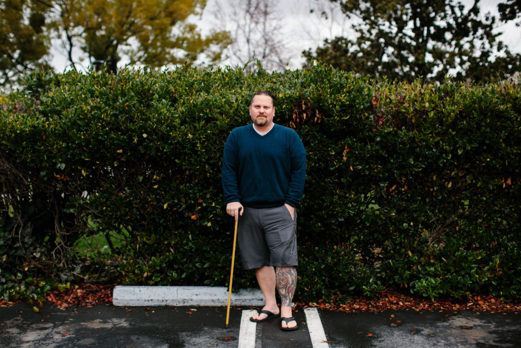 Michael Tausig has been unable to work or socialize since 2008, when the last of his five spinal reconstruction surgeries left him in constant pain. Photo by Elizabeth D. Herman for STAT News