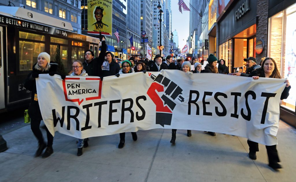 Writers Resist protesters march to Trump tower. Credit: Ed Lederman/PEN America