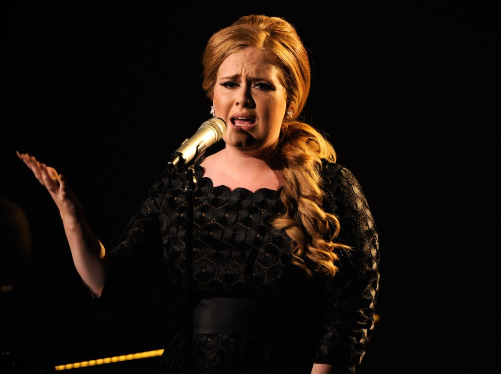 Adele performs on stage at the The 28th Annual MTV Video Music Awards at Nokia Theatre L.A. LIVE on August 28, 2011 in Los Angeles, California. Photo by Kevin Mazur/via Getty Images