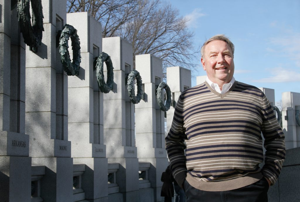 "Gary Nystrom of Iowa visits the World War II Memorial in Washington, D.C. on Wednesday, Jan. 18, 2017. Nystrom's father and uncles fought in World War II. ""It's a shame the way the veterans have been treated,"" he said. Nystrom believes that Donald Trump will change that. Photo by Abbey Oldham"