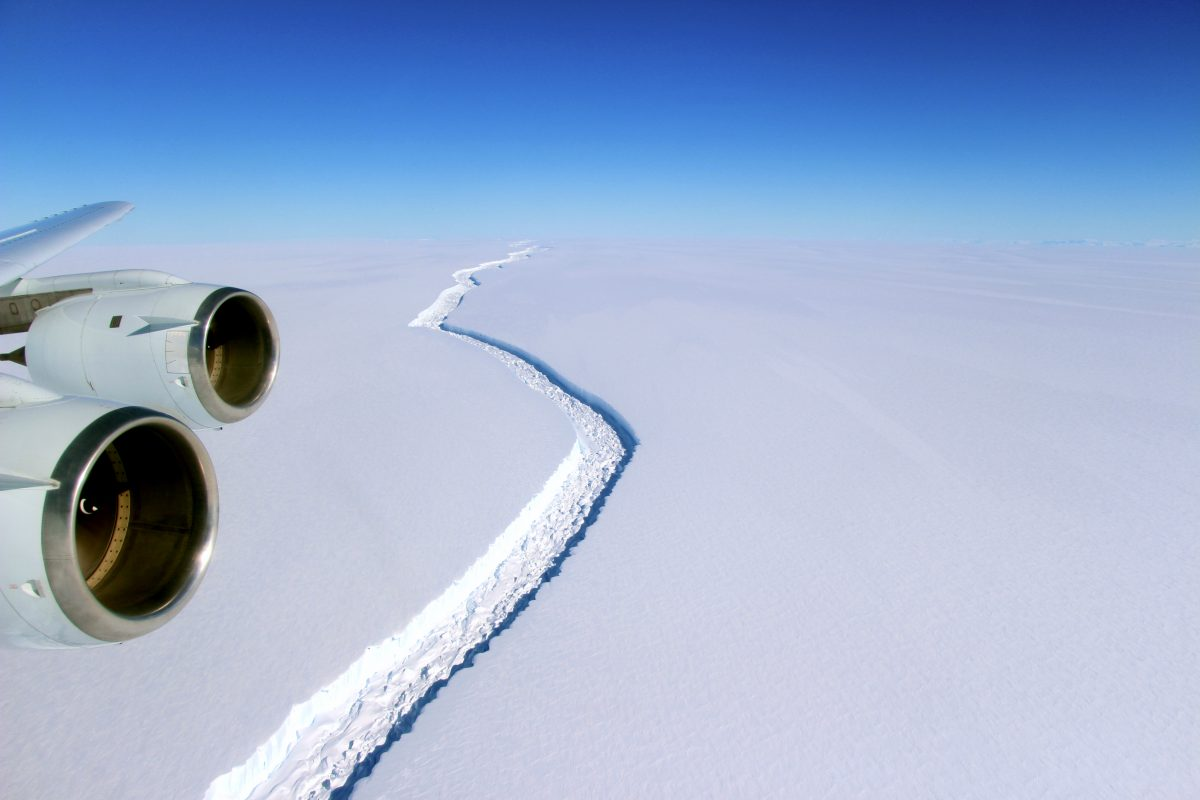 The rift in the Larsen C ice shelf is now about 70 miles long and over 1,000 feet wide. Photo by John Sonntag/NASA