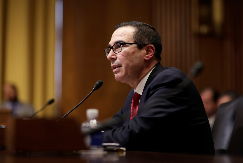 File photo of Treasury Secretary Steven Mnuchin by Joshua Roberts/Reuters