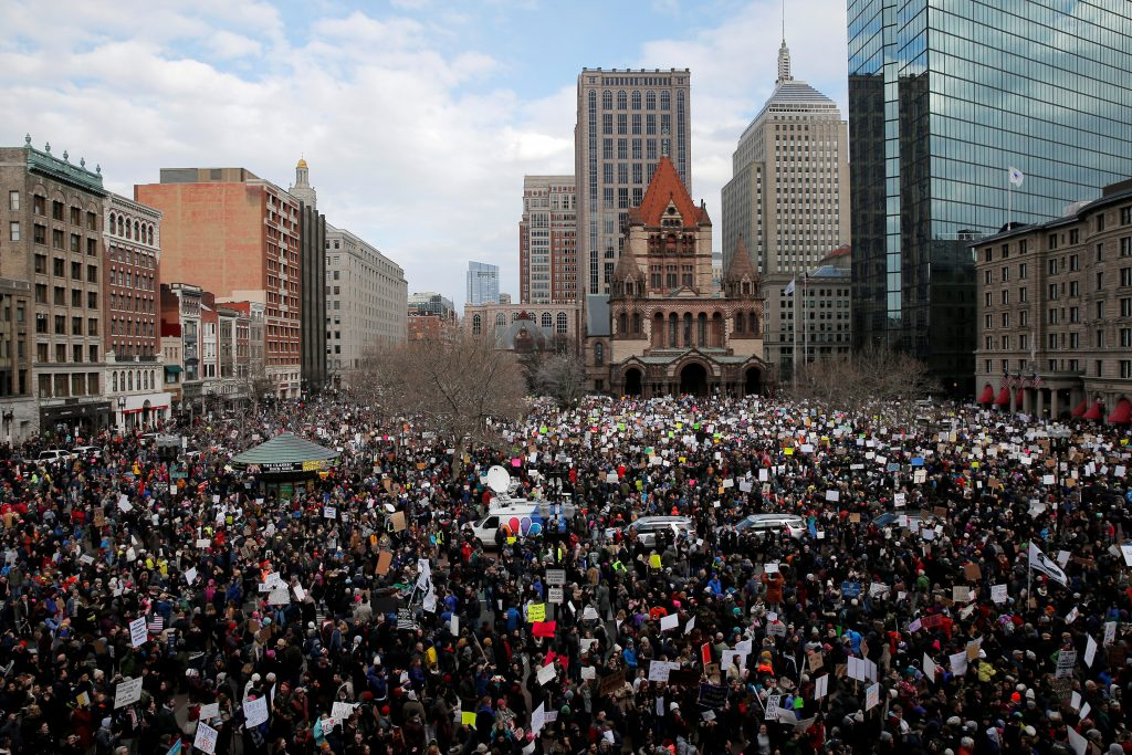 """Demonstrators gather in Copley Square for the """"Boston Protest Against Muslim Ban and Anti-Immigration Orders"""" to protest U.S. President Donald Trump's executive order travel ban in Boston, Massachusetts, U.S. January 29, 2017. REUTERS/Brian Snyder - RTSXY4O"""