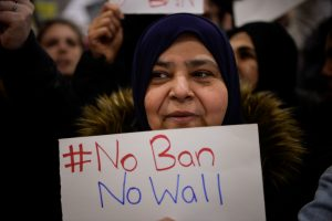 File photo of a protest over the travel ban by Charles Mostoller/Reuters