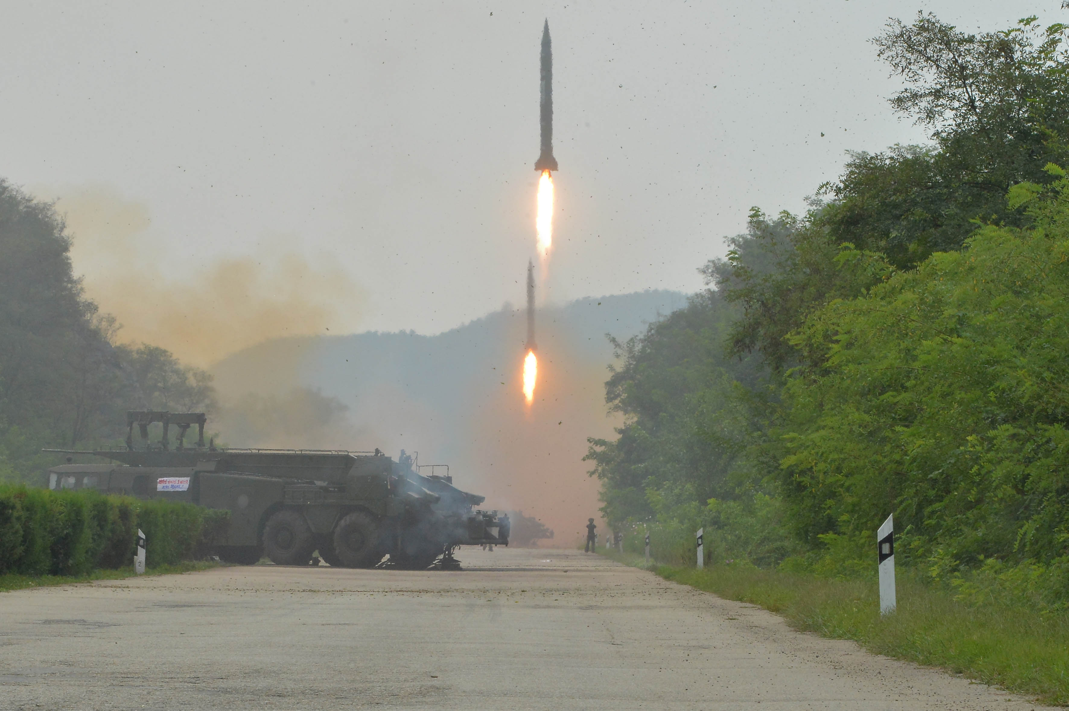 A fire drill of ballistic rockets by Hwasong artillery units of the KPA Strategic Force is pictured in this undated photo released by North Korea's Korean Central News Agency (KCNA) in Pyongyang September 6, 2016. Photo By KCNA via Reuters