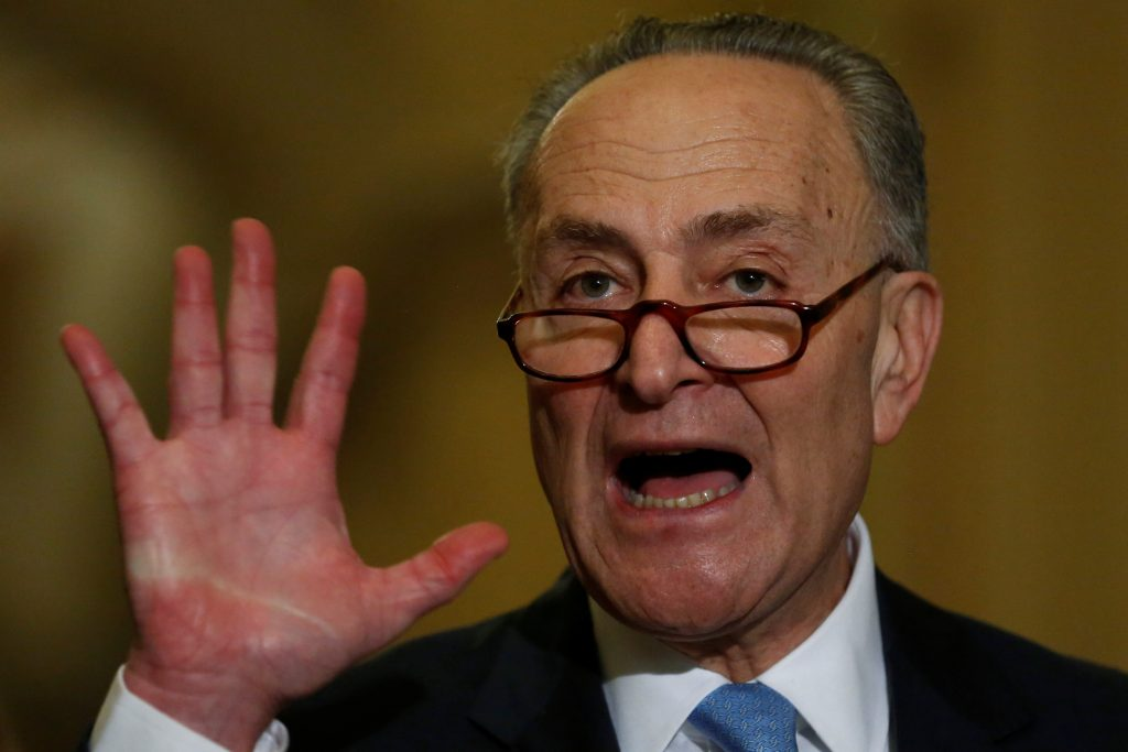 This file photo shows U.S. Senate Minority Leader Chuck Schumer (D-NY) as he speaks with reporters. Photo by REUTERS/Jonathan Ernst .