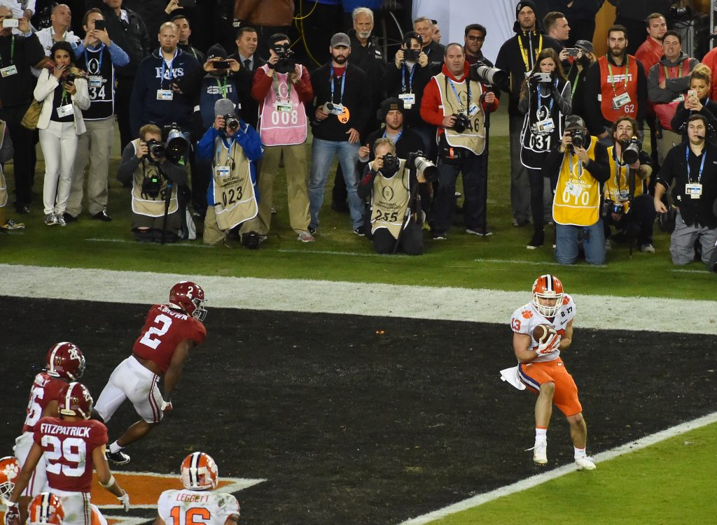 Clemson Tigers wide receiver Hunter Renfrow (13) catches a touchdown pass against the Alabama Crimson Tide in the fourth quarter in the 2017 College Football Playoff National Championship Game at Raymond James Stadium. Photo by Jasen Vinlove-USA TODAY Sports