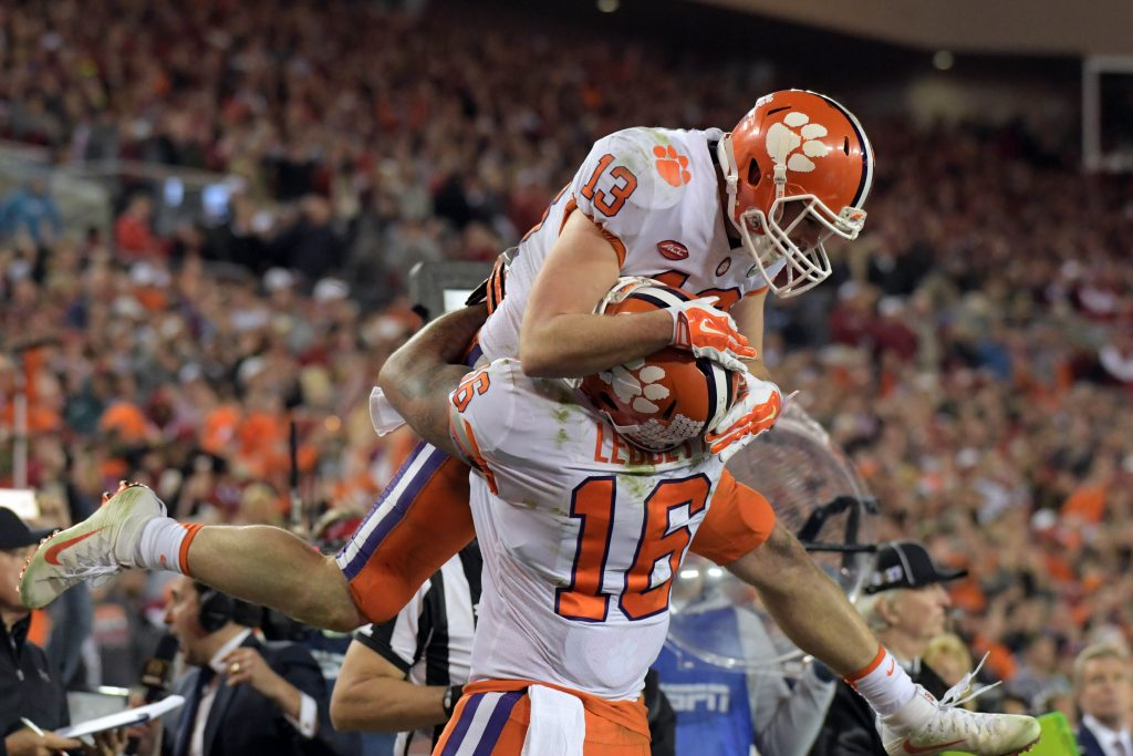 Jan 9, 2017; Tampa, FL, USA; Clemson Tigers wide receiver Hunter Renfrow (13) celebrates with tight end Jordan Leggett (16) after making a touchdown catch against the Alabama Crimson Tide during the fourth quarter in the 2017 College Football Playoff National Championship Game at Raymond James Stadium. Photo by Kirby Lee-USA TODAY Sports