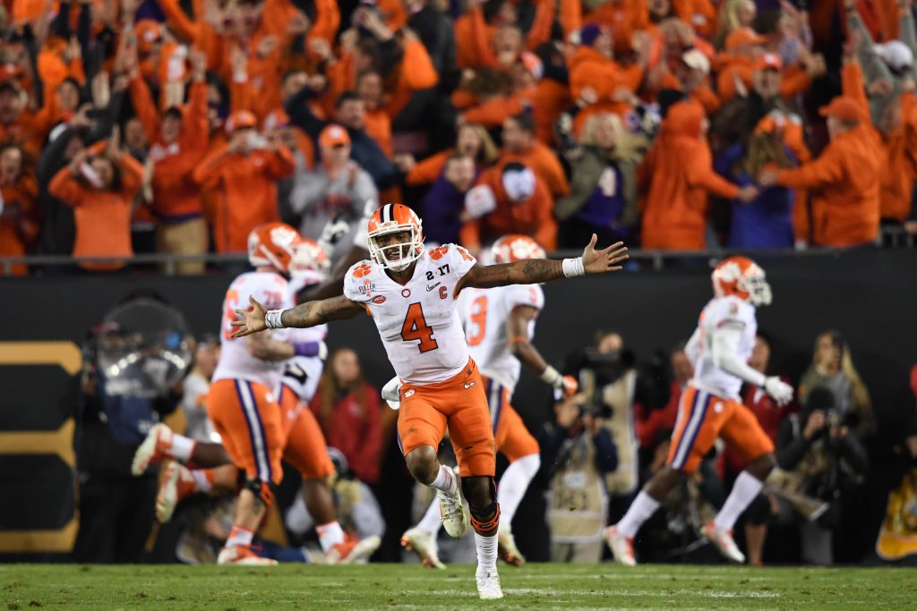 Clemson Tigers quarterback Deshaun Watson (4) celebrates during the fourth quarter against the Alabama Crimson Tide in the 2017 College Football Playoff National Championship Game at Raymond James Stadium. Photo by John David Mercer-USA TODAY Sports