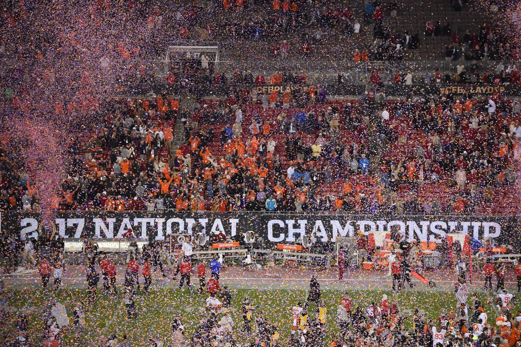 Confetti flies on the field after the Clemson Tigers defeated the Alabama Crimson Tide in the 2017 College Football Playoff National Championship Game at Raymond James Stadium. Photo by Jasen Vinlove-USA TODAY Sports