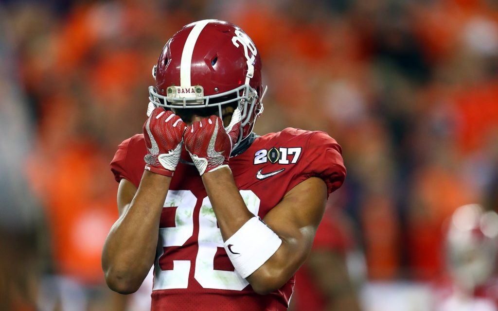 Alabama Crimson Tide defensive back Anthony Averett (28) reacts during the fourth quarter against the Clemson Tigers in the 2017 College Football Playoff National Championship Game at Raymond James Stadium. Photo by Mark J. Rebilas-USA TODAY Sports
