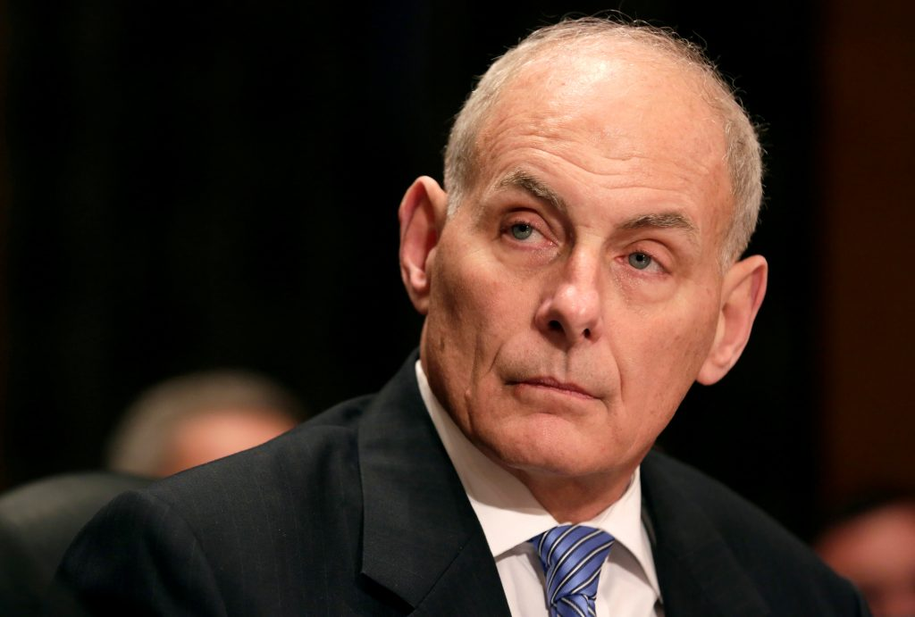 Retired Gen. John Kelly testifies before a Senate committee as President-elect Donald Trump's nominee to be secretary of the Department of Homeland Security in Washington, D.C. Photo by Joshua Roberts/Reuters