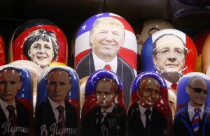 FILE PHOTO: Painted Matryoshka dolls, or Russian nesting dolls, bearing the faces of U.S. Republican presidential nominee Donald Trump and Russian President Vladimir Putin are displayed for sale at a souvenir shop in central Moscow, Russia November 7, 2016. REUTERS/Sergei Karpukhin/File Photo FOR EDITORIAL USE ONLY. NO RESALES. NO ARCHIVES. - RTX2YFZR