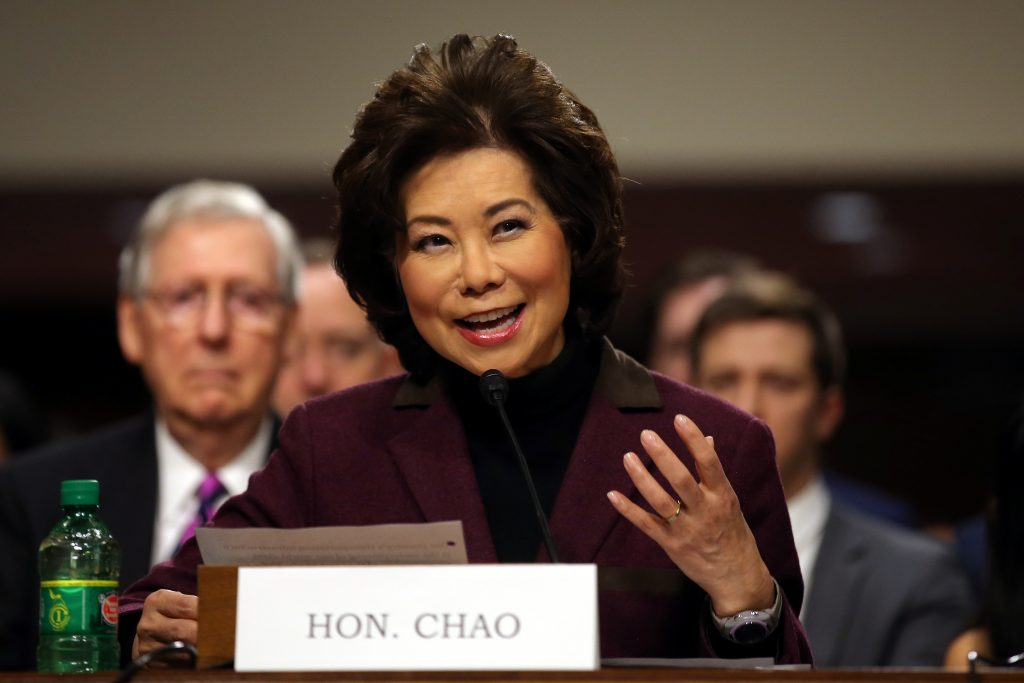 Elaine Chao testifies before a Senate Commerce Science and Transportation Committee confirmation hearing on her nomination to be transportation secretary on Capitol Hill in Washington, D.C. Photo by Carlos Barria/Reuters