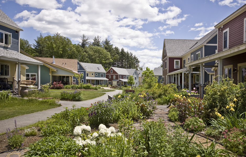 An exterior view of the Mosaic Commons cohousing community in Berlin, Massachusetts. Photo courtesy of Laura Fitch