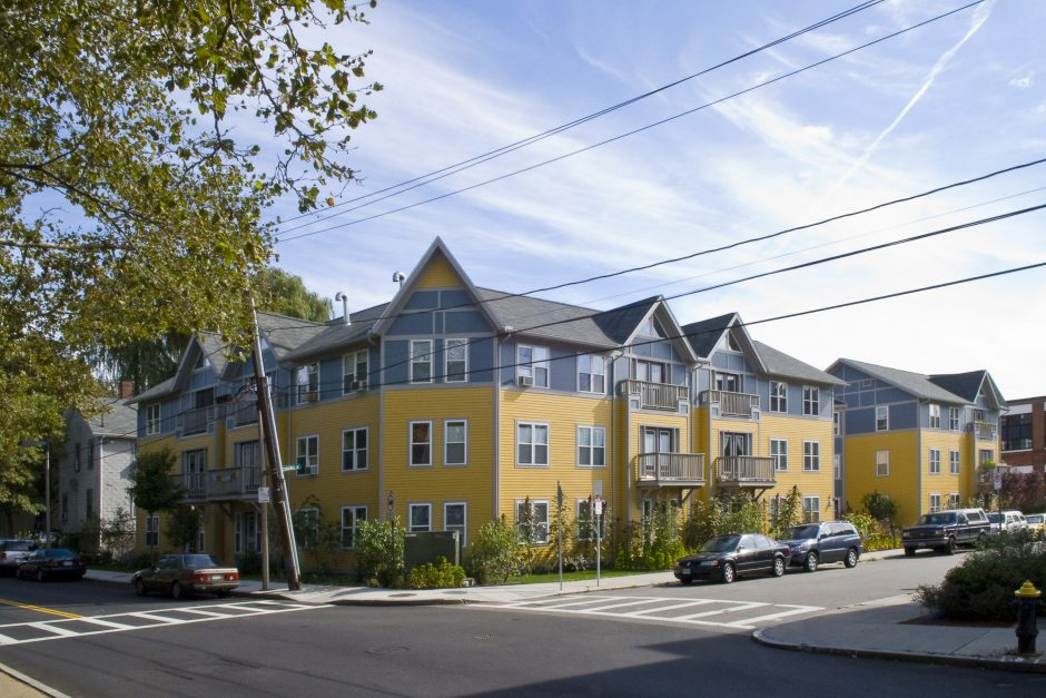 The exterior of a cohousing community in Jamaica Plain, Massachusetts. Photo courtesy of Laura Fitch
