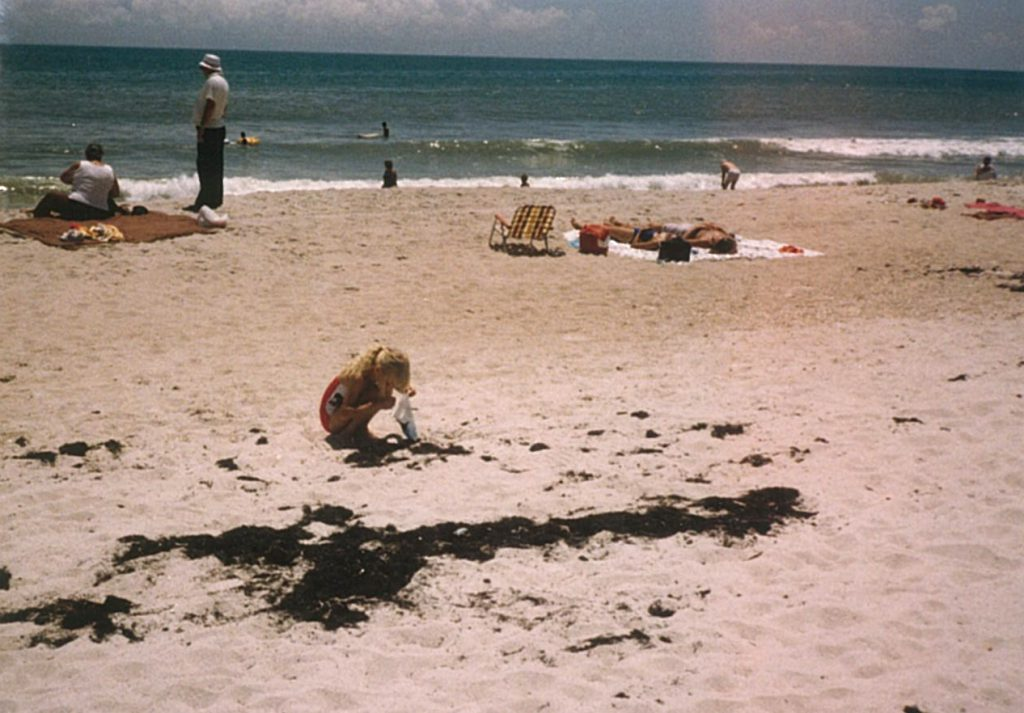 Ginger Krieg Dosier in 1985 during her first time on a beach, marveling and collecting sea shells in Gulf Shores, Alabama. Photo courtesy of Ginger Krieg Dosier/bioMASON