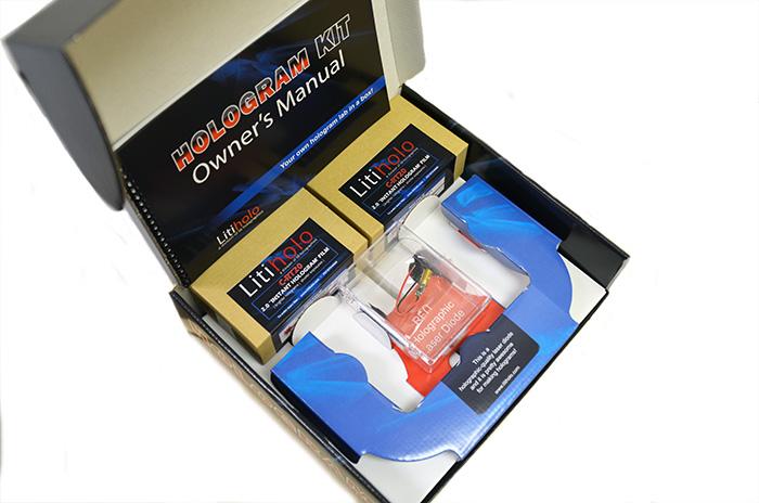 The Litiholo Hologram kit has everything you need to start making transmission holograms. Photo: Litiholo