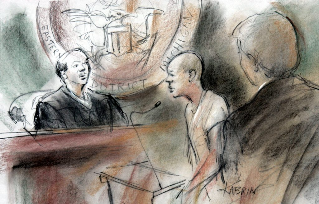 This courtroom drawing shows accused Christmas Day Bomber Umar Farouk Abdulmutallab in federal court in Detroit, Michigan in 2010. Image by Kabrin via Reuters