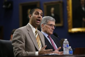 Then-FCC Commissioner Ajit Pai (L) testifies at a House Appropriations Financial Services and General Government Subcommittee hearing on Capitol Hill in 2015. Photo by Kevin Lamarque/Reuters