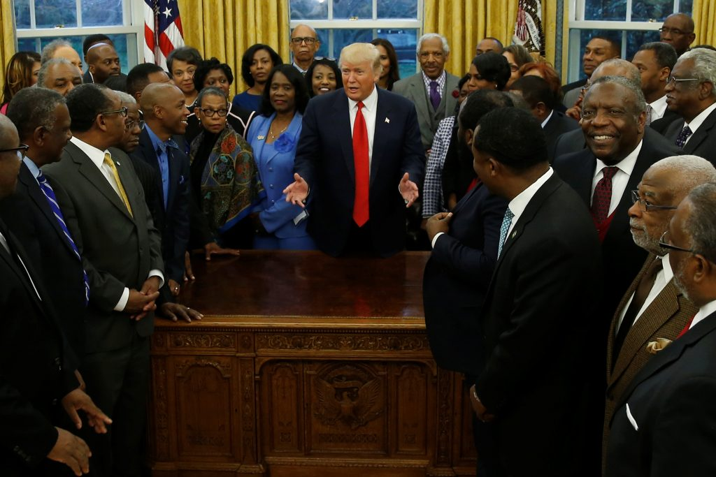 U.S. President Donald Trump welcomes the leaders of dozens of historically black colleges and universities (HBCU) in the Oval Office at the White House in Washington, U.S. February 27, 2017. Photo by REUTERS/Jonathan Ernst.