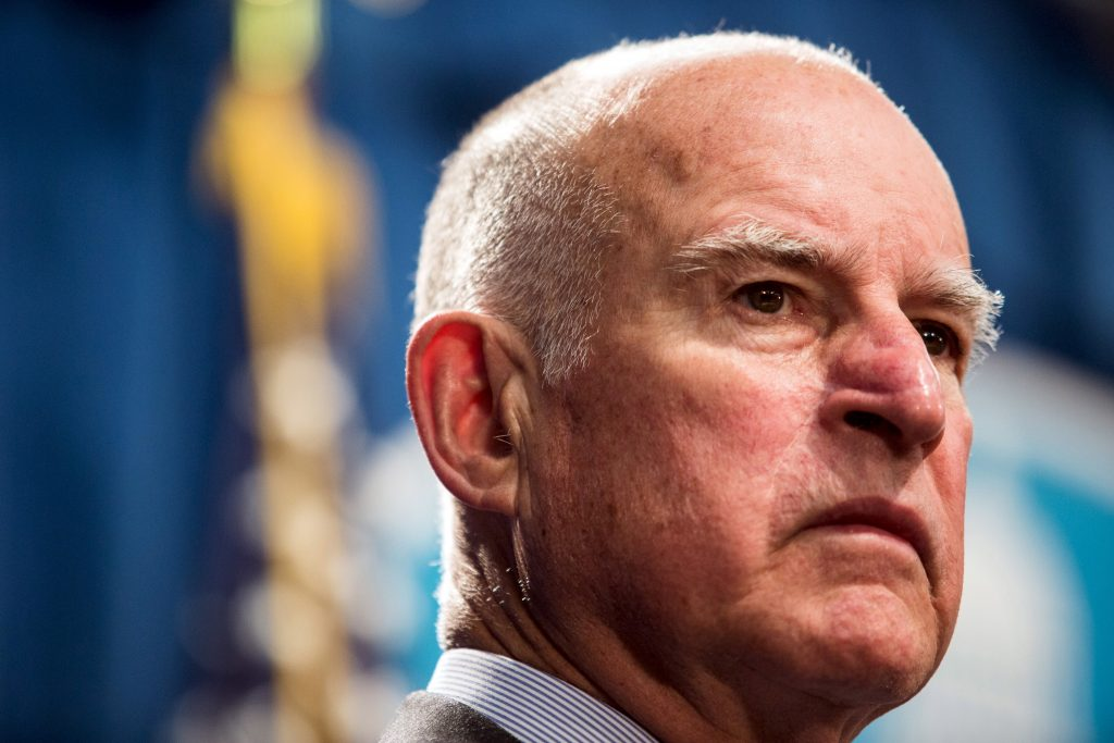 File photo of California Governor Brown during a news conference at the State Capitol in Sacramento