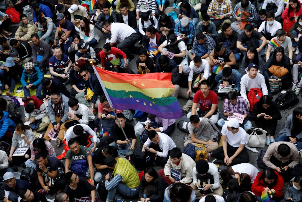 Thousand of supporters of same-sex marriage take part in a rally outside the Legislative Yuan in Taipei, Taiwan, in November. Photo by Tyrone Siu/Reuters