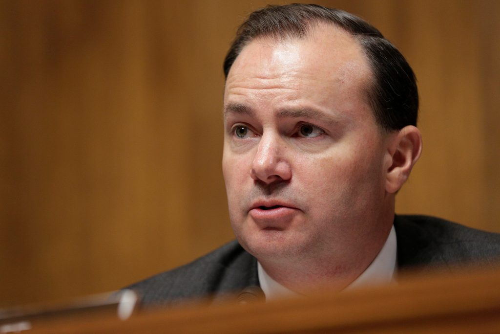 Chairman of the Senate Judiciary Committee Antitrust Subcommittee Mike Lee (R-UT) speaks during a Senate Judiciary Committee Antitrust Subcommittee hearing on the proposed deal between AT&T and Time Warner in Washington, U.S., December 7, 2016. REUTERS/Joshua Roberts - RTSV40X