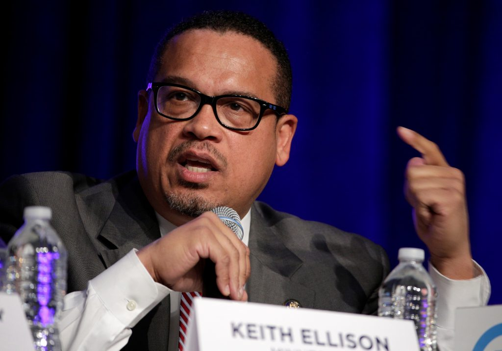 Rep. Keith Ellison (D-MN), a candidate for Democratic National Committee Chairman, speaks during a Democratic National Committee forum in Baltimore, Maryland. Photo by Joshua Roberts/Reuters